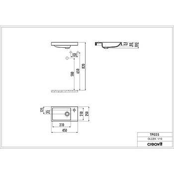 Creavit TP025 Elmas Dolap Üstü Lavabo 25*45 cm Beyaz