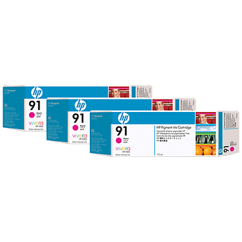 HP 91 Magenta Ink Cartridge 3-pack - 3 ink cartridges 775 ml each, not for individual sale C9484A