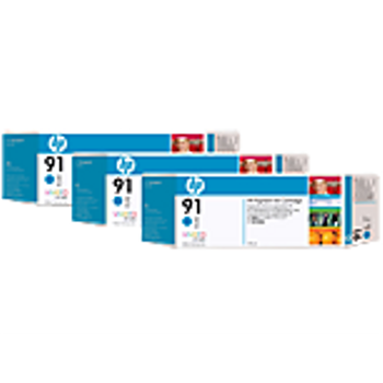 HP 91 Cyan Ink Cartridge 3-pack - 3 ink cartridges 775 ml each, not for individual sale C9483A