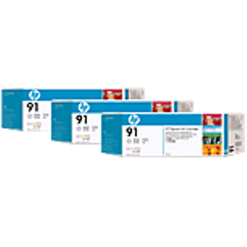 HP 91 Light Grey Ink Cartridge 3-pack - 3 ink cartridges 775 ml each, not for individual sale C9482A