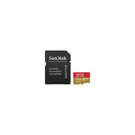 Sandisk Extreme microSDXC 64GB 160/60MB/s A2 C10 V30 UHS-I Hafýza Kartý SDSQXA2-064G-GN6MA