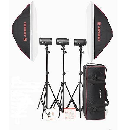 JINBEI Caler E II-400w/s Digital Kit 3 lü Paraflaþ Set