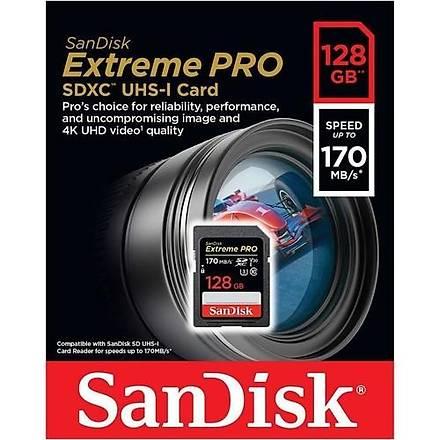 Sandisk Extreme Pro 128GB SDXC Card 128GB 170MB/s V30 UHS-I U3 Hafýza Kartý SDSDXXY-128G-GN4IN
