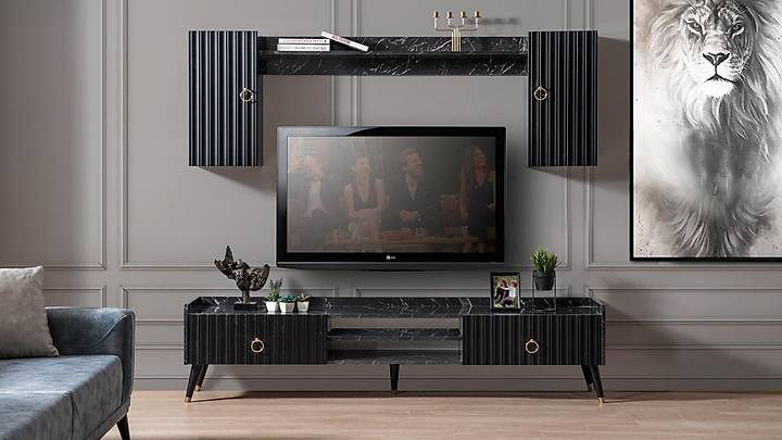 Luna Tv Ünitesi Siyah Mermer