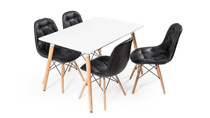 Eames Dikdörtgen Beyaz Masa Takýmý - Siyah