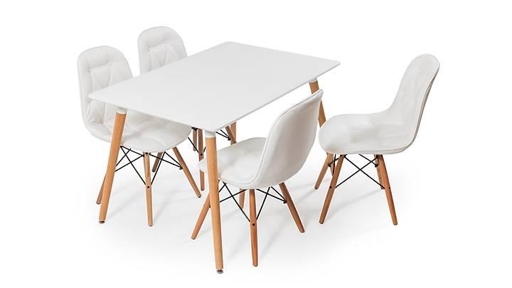 Eames Dikdörtgen Beyaz Masa Takımı