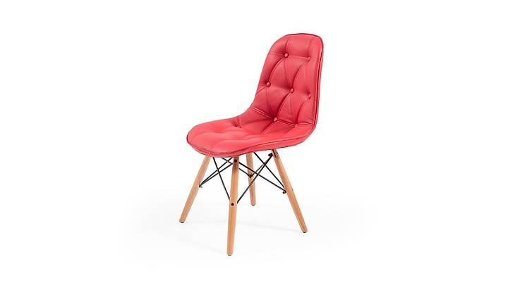 Eames Kapitoneli Deri Sandalye Kırmızı