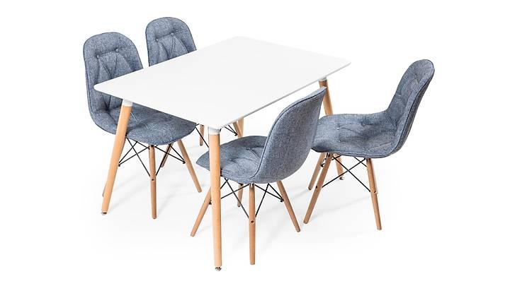 Eames Dikdörtgen Beyaz Masa Takımı - Keten