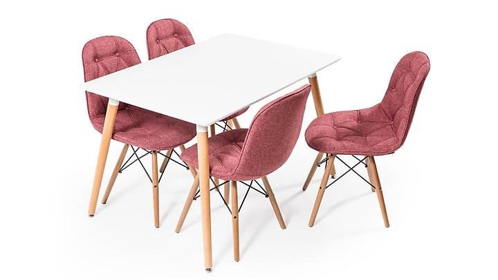 Eames Dikdörtgen Beyaz Masa Takýmý - Keten