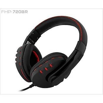 Frisby FHP-720BR Mikrofonlu Kulaklýk Siyah-Kýrmýzý