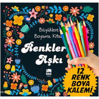 MANDALA Büyükler için BOYAMA KÝTABI + Renkli Boya kalem Seti