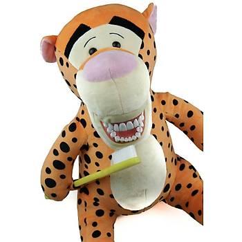 Diþ Fýrçalý Büyük Peluþ Kaplan Pedodonti - Tiger Dental Puppets