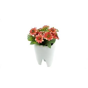 Seramik Diþ Vazo Yapay Çiçek