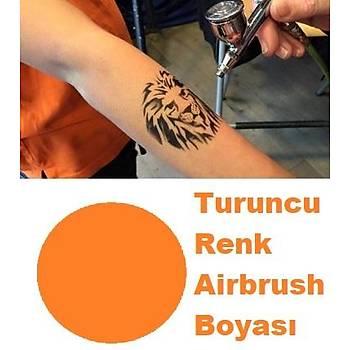 Turuncu Renk Paasche Marka Airbrush Geçici Dövme Boyasý