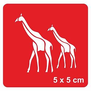 Zürafa Kardeþler Dövme Þablonu Kýna Deseni