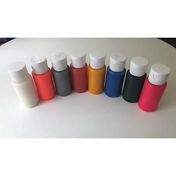 5 Renk Bir Arada Airbrush Geçici Dövme Boyasý Konsantre Ýthal