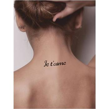 Seni Seviyorum Fransýzca Tattoo Dövme Þablonu Kýna Deseni