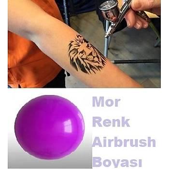 Mor Renk Airbrush Geçici Dövme Boyasý Konsantre Ýthal
