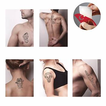 Korkusuz Kuru Kafa Modeller Sprey Dövme ve Þablon Seti Tattoo Dövme