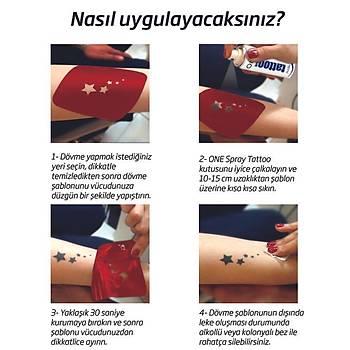 Kalp Dövmesi Sprey Dövme ve Þablon Seti Tattoo