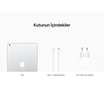 iPad 10.2'' (8.Nesil) Wi-Fi + Cellular 128GB Gümüþ MYMM2TU/A