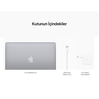 "MacBook Pro 13"" 8-Core CPU 8-Core GPU Apple M1 16GB 256GB SSD S.Grey Z11B00098 (MYD82TU/A Konfigürasyon)"