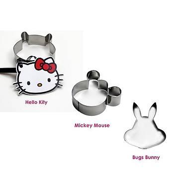 Metal Kurabiye Seti Hellokitty / Mickey / BugsBunny