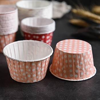 Cup Cake Kapsülü Pembe Puantiyeli 50Ad