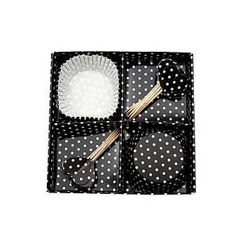 Siyah Beyaz Puantiyeli Cupkcake