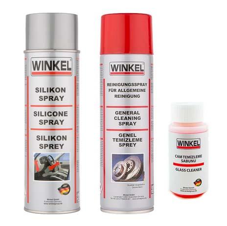 Winkel Silikon Sprey 400 ML Fren Balata Genel Temizleme Sprey 500ML Cam Sabunu 40 ML Temizlik Seti