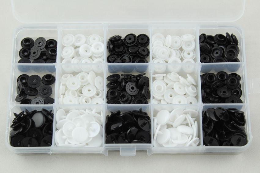 100 Set Plastik Siyah Beyaz Renk Çýt Çýt Düðmesi ve Þeffaf Saklama Kabý