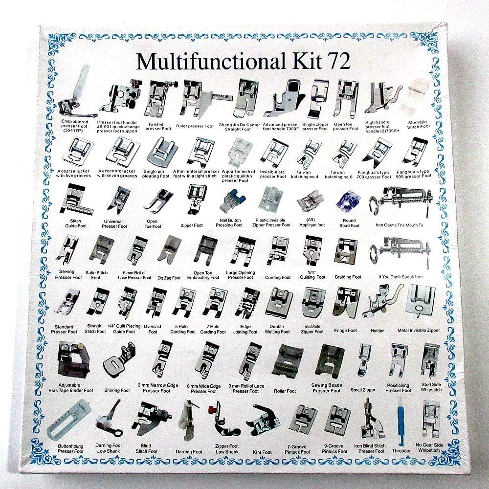 72 Parça Ev Tipi Aile Dikiþ Makinesi Komple Dikim Ayak Seti