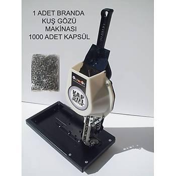Yarý Otomatik-Kapsül Bölmeli Branda-Afiþ Kenarý Pulsuz Kuþ Gözü Çakma Makinasý+1000 Adet Kapsül