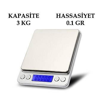 Dijital Elektronik Taþýnabilir Mutfak Terazi Tartý Baskül 3 kg 0.1