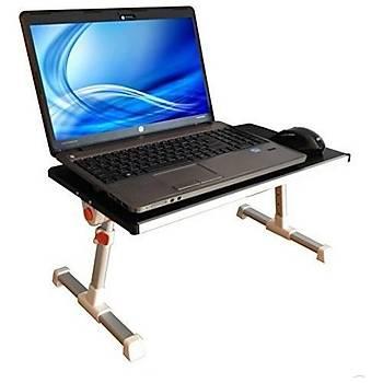 Yükseklik Ayarlý Çift Soðutuculu Portatif Katlanabilir Alüminyum Ýpad Laptop Sehpasý