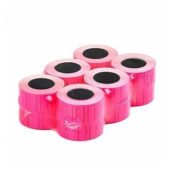 Motex Fiyat Etiketleme Makinasý Pembe Floresan Renk Etiketi Metosu ( 24 Rulo ) (21mmx12mm)