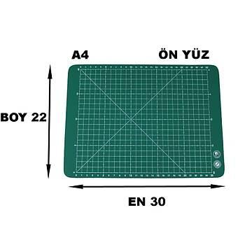 PVC Çift Taraflý A4 300x220mm Kesim Altlýðý Patchwork Cutting Mat