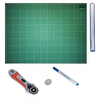 Kesim Altlığı Patchwork Cutting Mat ve 45 mm Rulet Kesici Komple Set