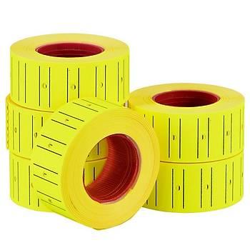 Motex Fiyat Etiketleme Makinasý Sarý Floresan Renk Etiketi Metosu ( 24 Rulo ) (21mmx12mm)