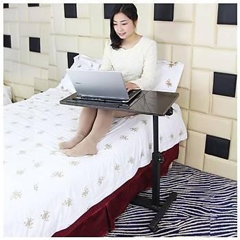 Yerden Yükseklik ve Eðim Ayarlý Mouse Bölmeli Tekerli Laptop Bilgisayar Sehpasý
