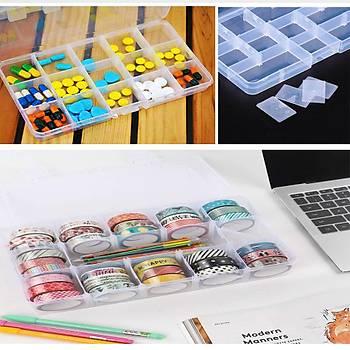 15 Bölmeli Ayarlanabilir Organizer Plastik Kutu 50 Adet