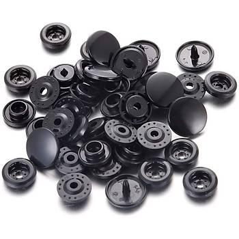 Plastik Siyah Çýt Çýt Düðme 200 Set 12.5 MM