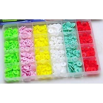 120 Set Plastik Renkli Çýt Çýt Düðmesi ve Þeffaf Saklama Kabý