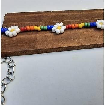 Rainbow daisy kolye - Kargo bedava
