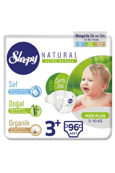 Sleepy Natural Bebek Bezi 3+ Numara Midi Plus 96 Adet