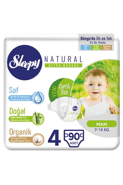 Sleepy Natural Bebek Bezi 4 Numara Maxi 90 Adet