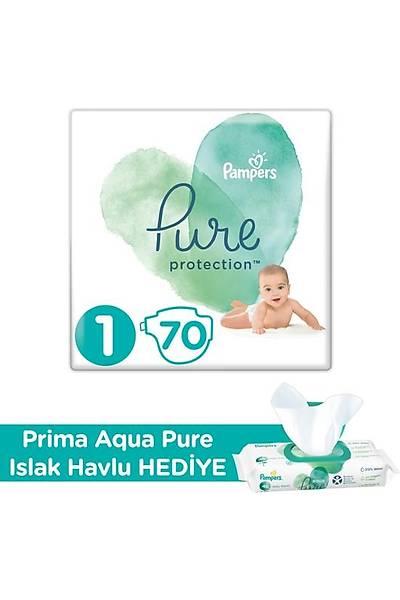 Prima Pure Bebek Bezi 1 Beden 70'li + Prima Aqua Pure Islak Havlu Hediyeli