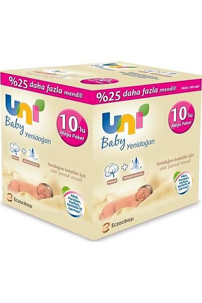 Uni Baby Yenidoðan 10 x 50'li Islak Pamuk Mendil 500 yaprak 25% Daha Fazla Mendil