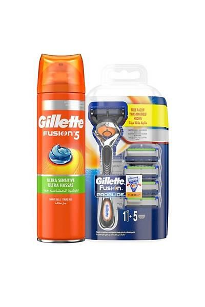 Gillette Fusion Proglide Makine + 5 Yedek Býçakta Hediye + Fusion 5 Týraþ Jeli 200ml + Çanta