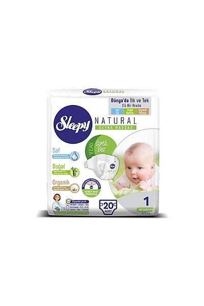 Sleepy Natural Bebek Bezi 1 Numara Yenidoðan 20 Adet